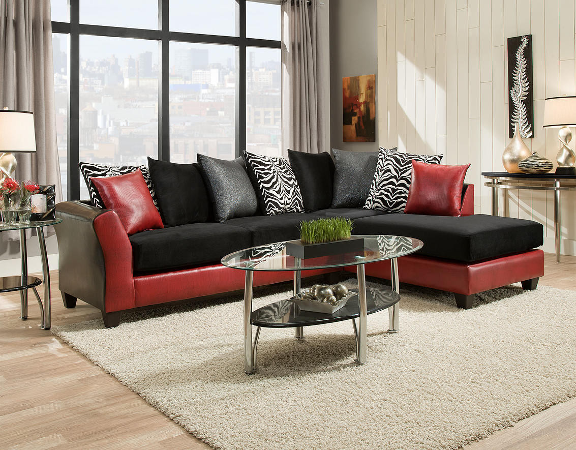 Red And Black Sectional Las Vegas Furniture Store Modern Home : black and red sectional sofa - Sectionals, Sofas & Couches