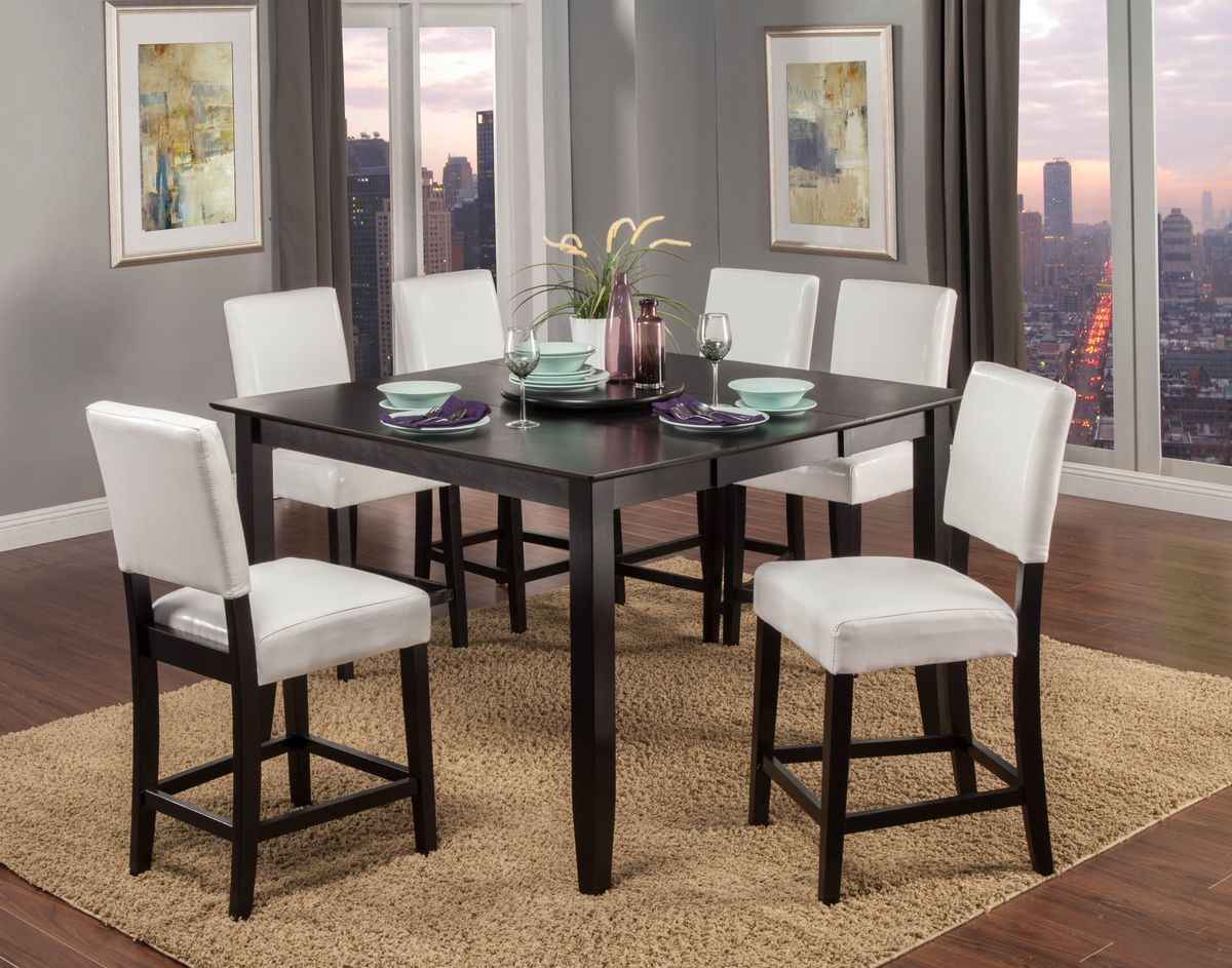 Tremendous Billing Black Finish 7Pc Pub Table Set With White Chairs Onthecornerstone Fun Painted Chair Ideas Images Onthecornerstoneorg