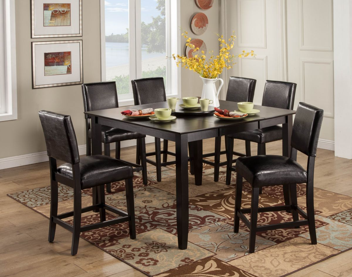 Billings 9 Pc Counter Height Set With Black Chairs Las Vegas Furniture Store Modern Home