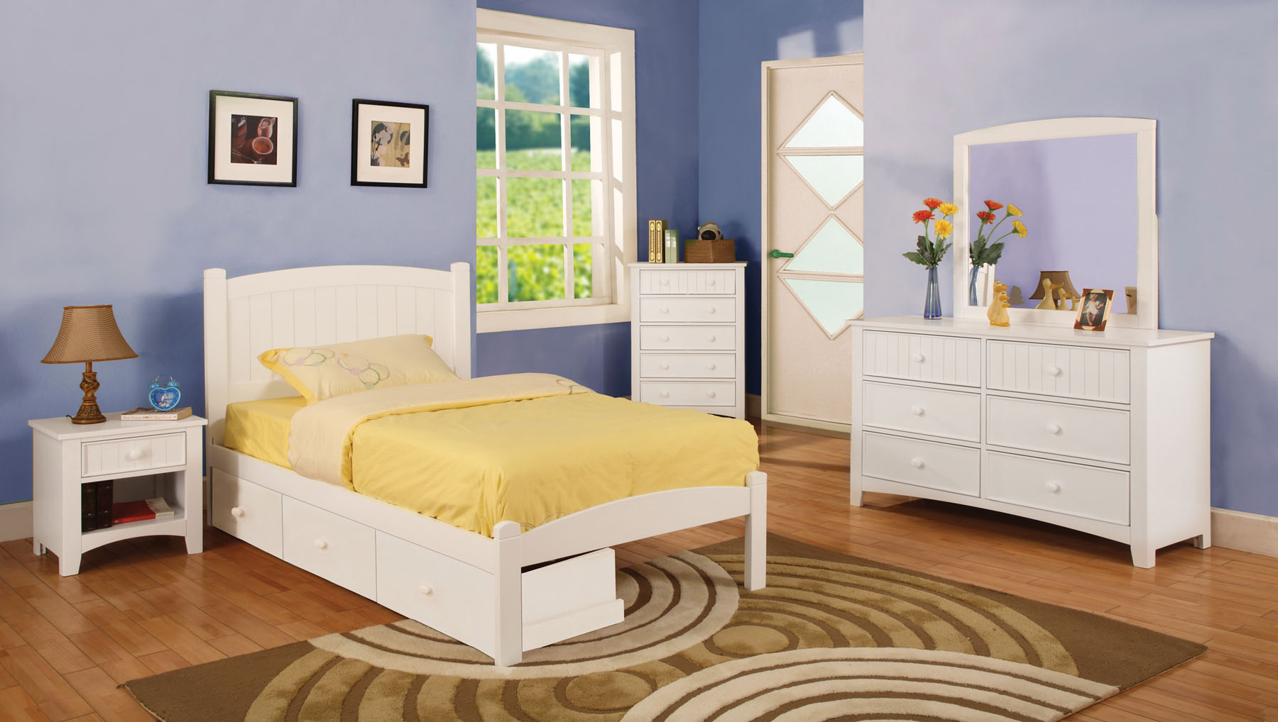 Caren White Twin Bedroom Set | Las Vegas Furniture Store ...