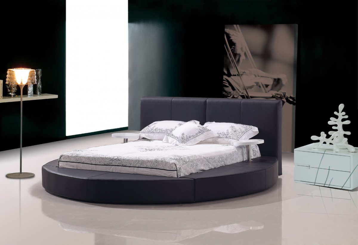 atlas black leather round bed las vegas furniture store