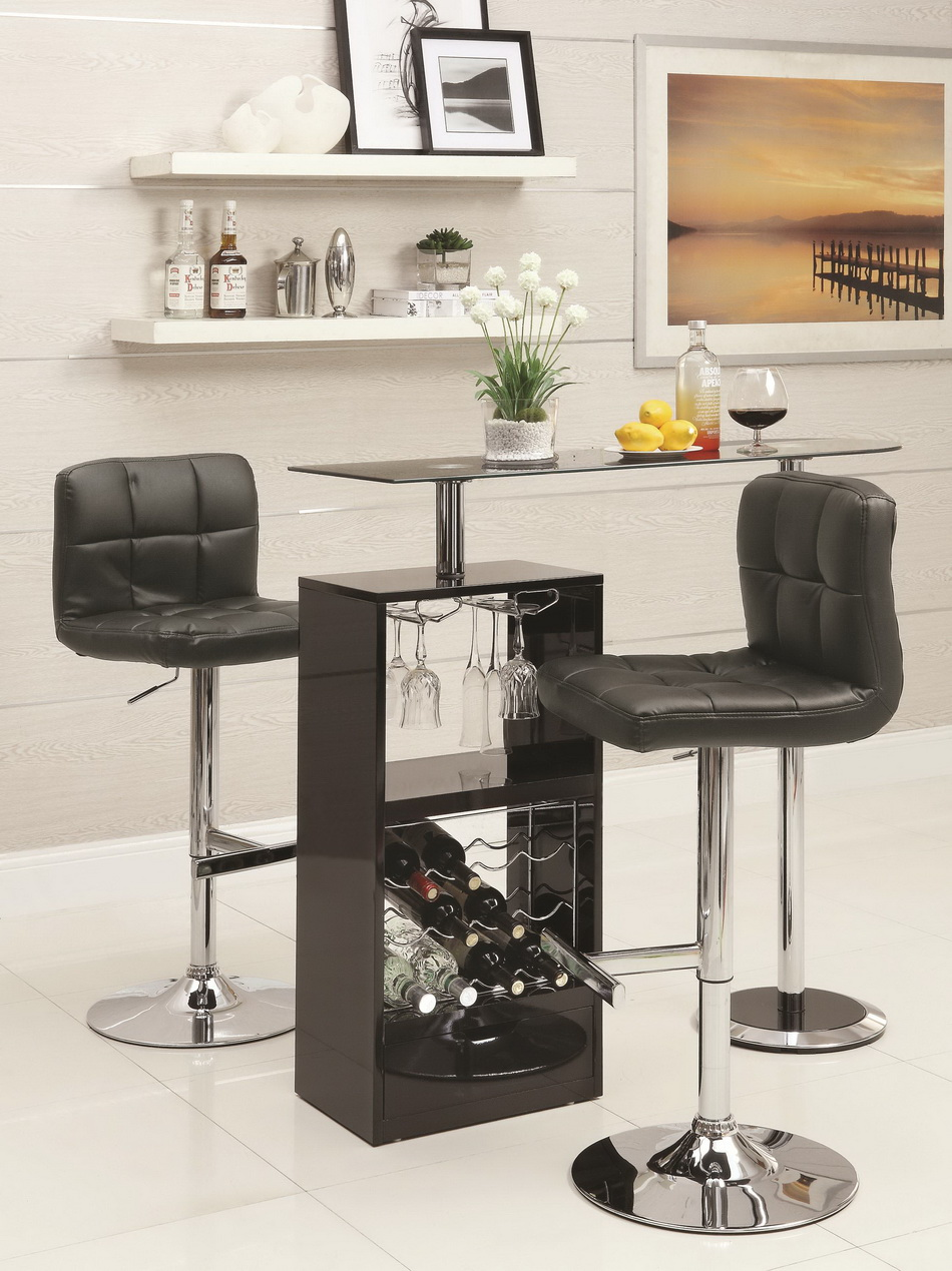 Bob Glossy Black Bar Table Set Las Vegas Furniture Store Modern Home Furniture Cornerstone