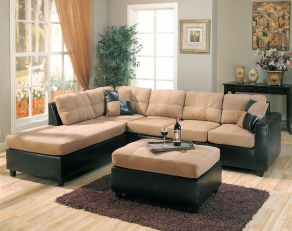 Mallory Tan Microfiber Sectional Las Vegas Furniture