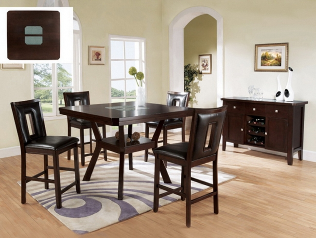 counter height dining w cracked glass insert 599 las vegas furniture store modern home. Black Bedroom Furniture Sets. Home Design Ideas