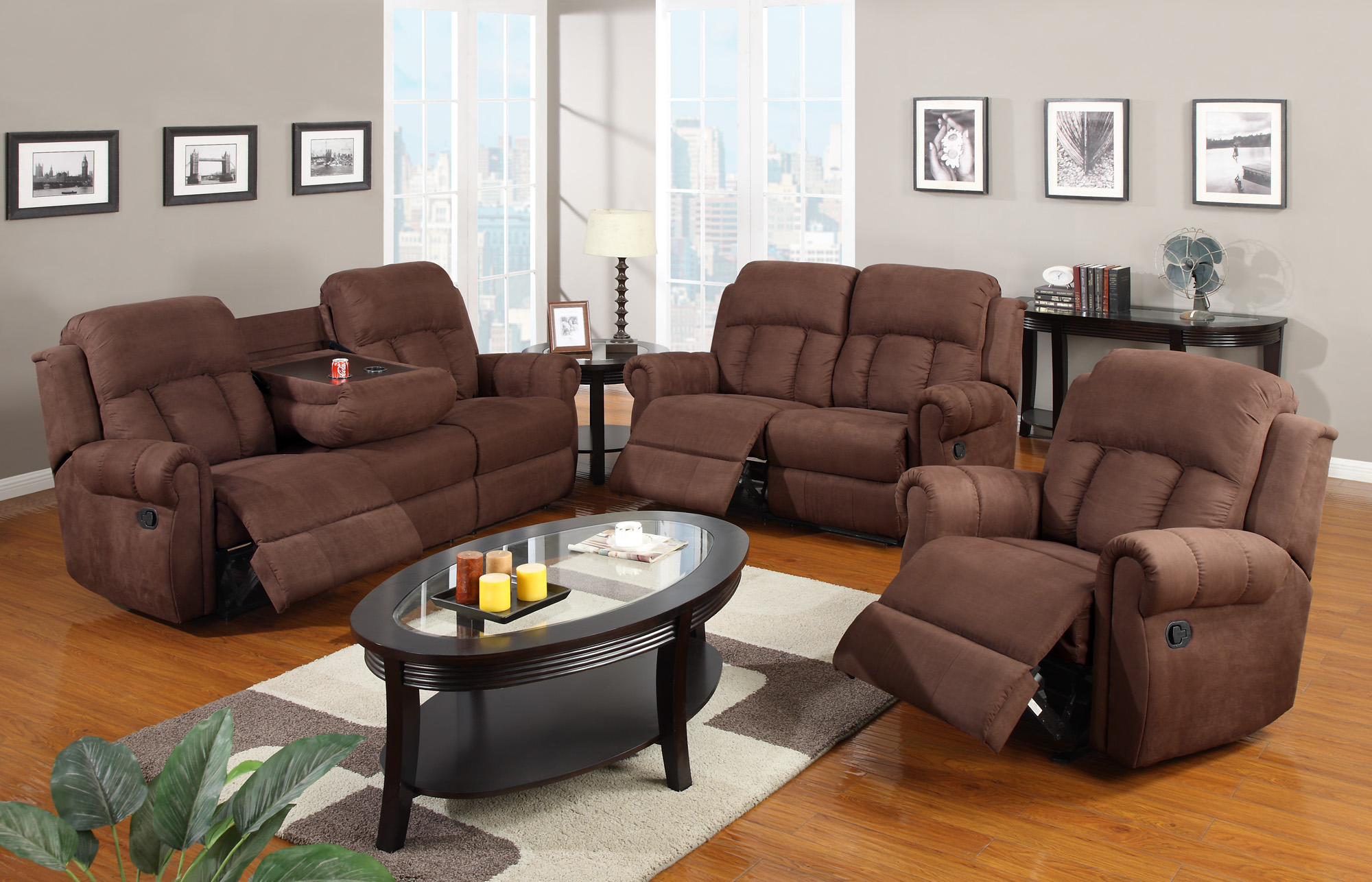 Gordon Chocolate Reclining Set Las Vegas Furniture Store