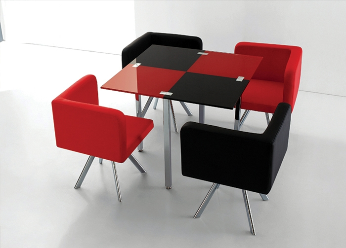 Red and Black Square Modern 5pc Dining Set