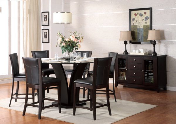 Round Counter Height 7pc Dining Set With Espresso Chairs