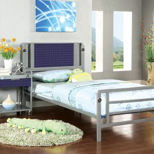 Prado I Dark Blue & Silver Bed