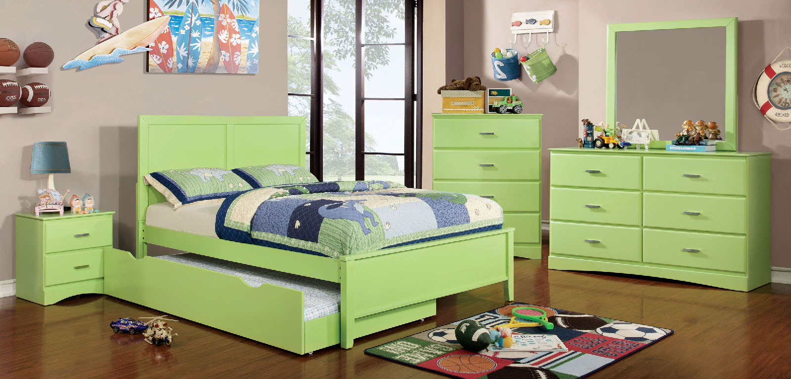 Prismo lime green wood bedroom set las vegas furniture for Lime green bedroom furniture