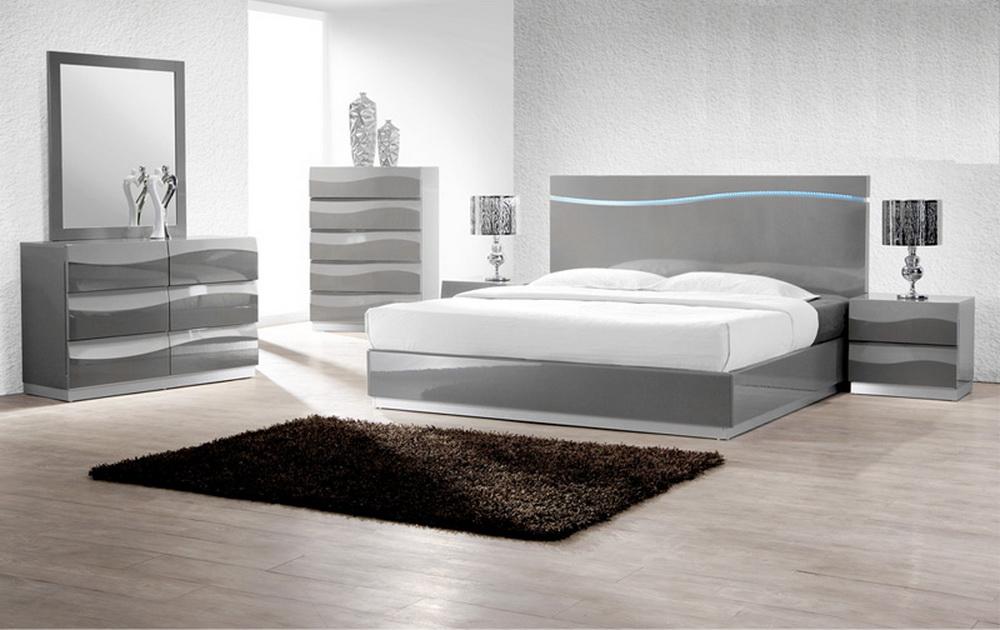 leon grey lacquer 4pc bedroom set las vegas furniture