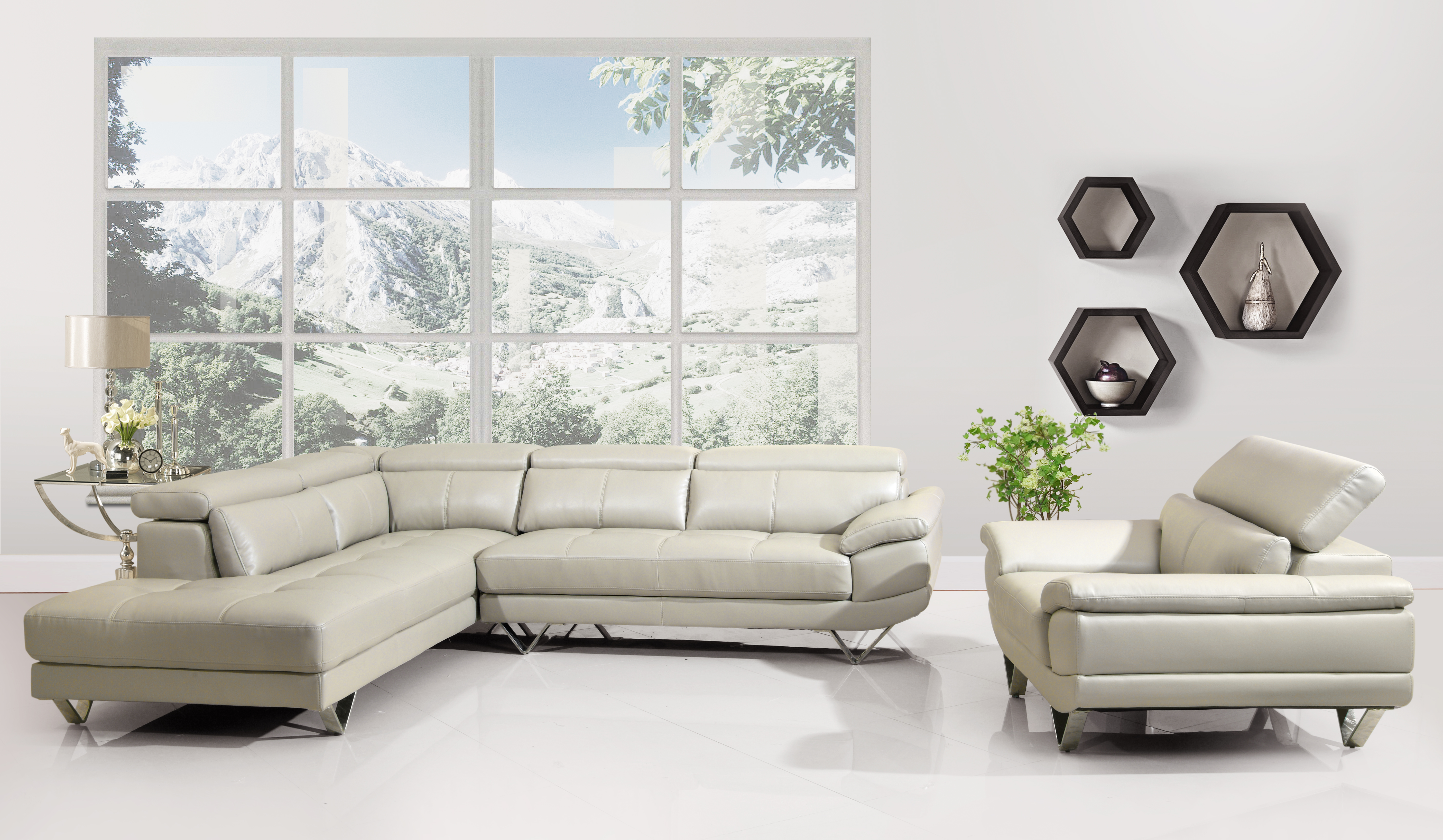 Stacy Cloud Bonded Leather Sectional Las Vegas Furniture Store Modern Home Furniture