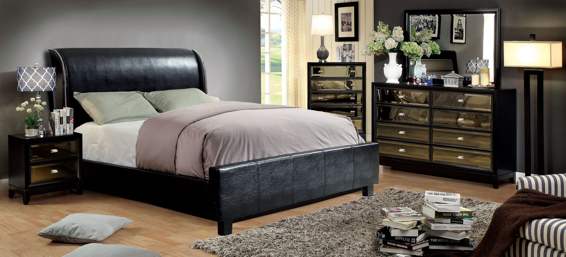 Maxon Black Bonded Leather Bedroom Set Las Vegas