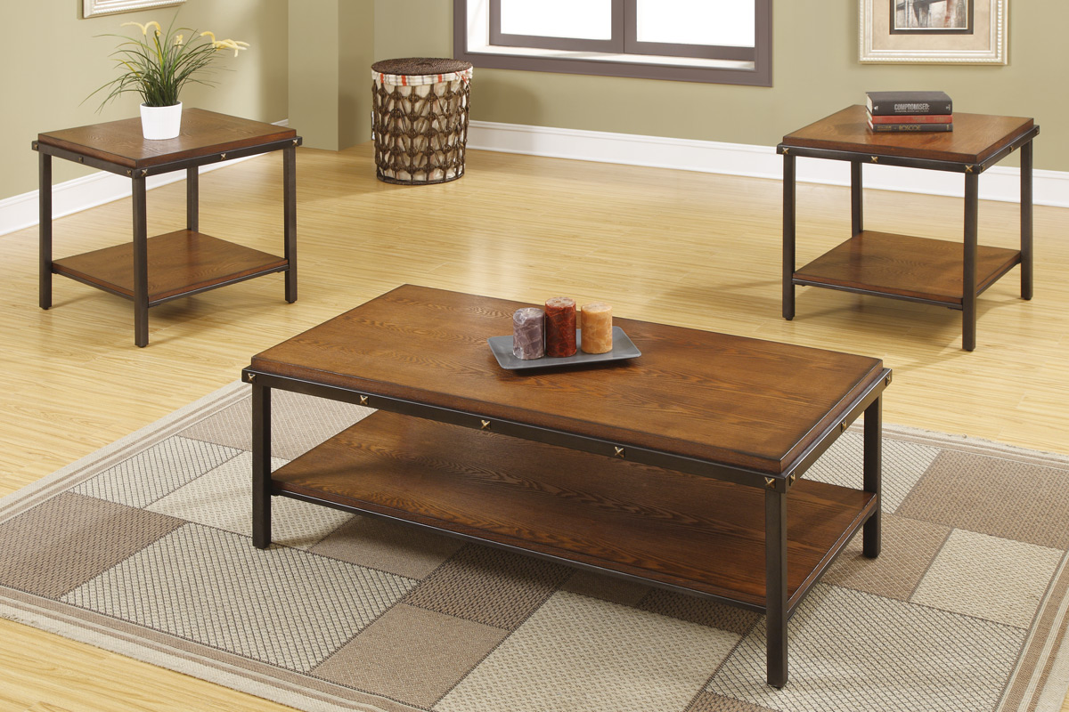 Light Brown 3pc Coffee Table Set Las Vegas Furniture