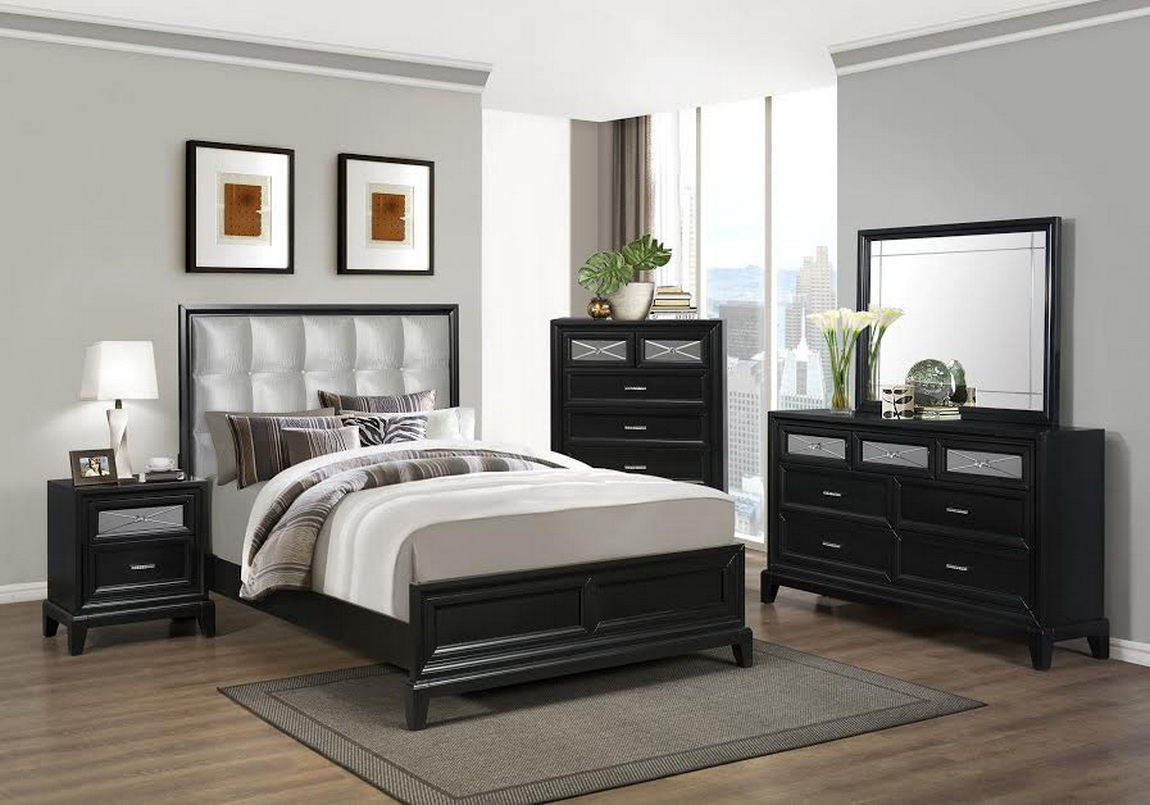 Elisa black silver 4pc mirror bedroom set las vegas for Bedroom furniture 89117
