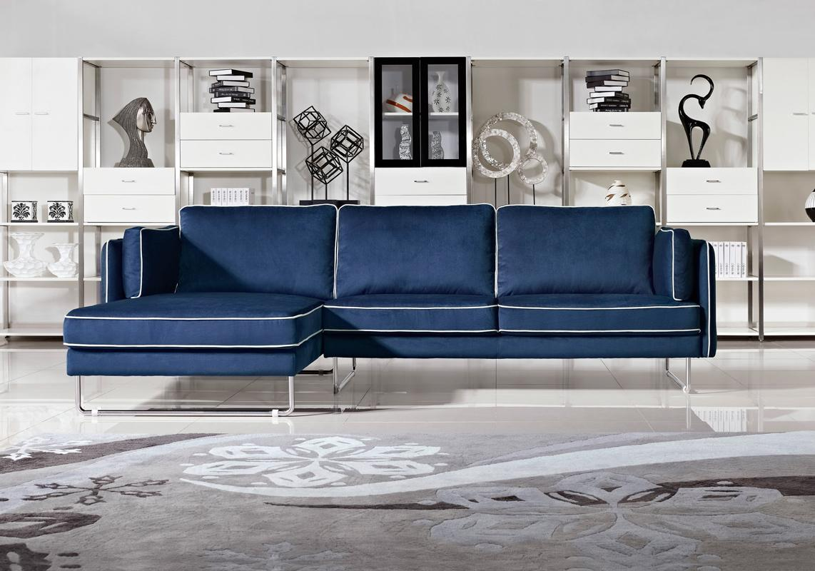 Anchusa Blue Fabric With White Piping Sectional Las