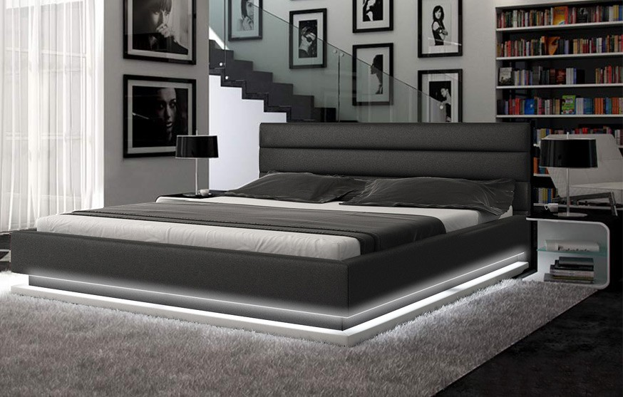 Contemporary Bedroom Set London Black By Acme Furniture: Infinity Black Platform Bed