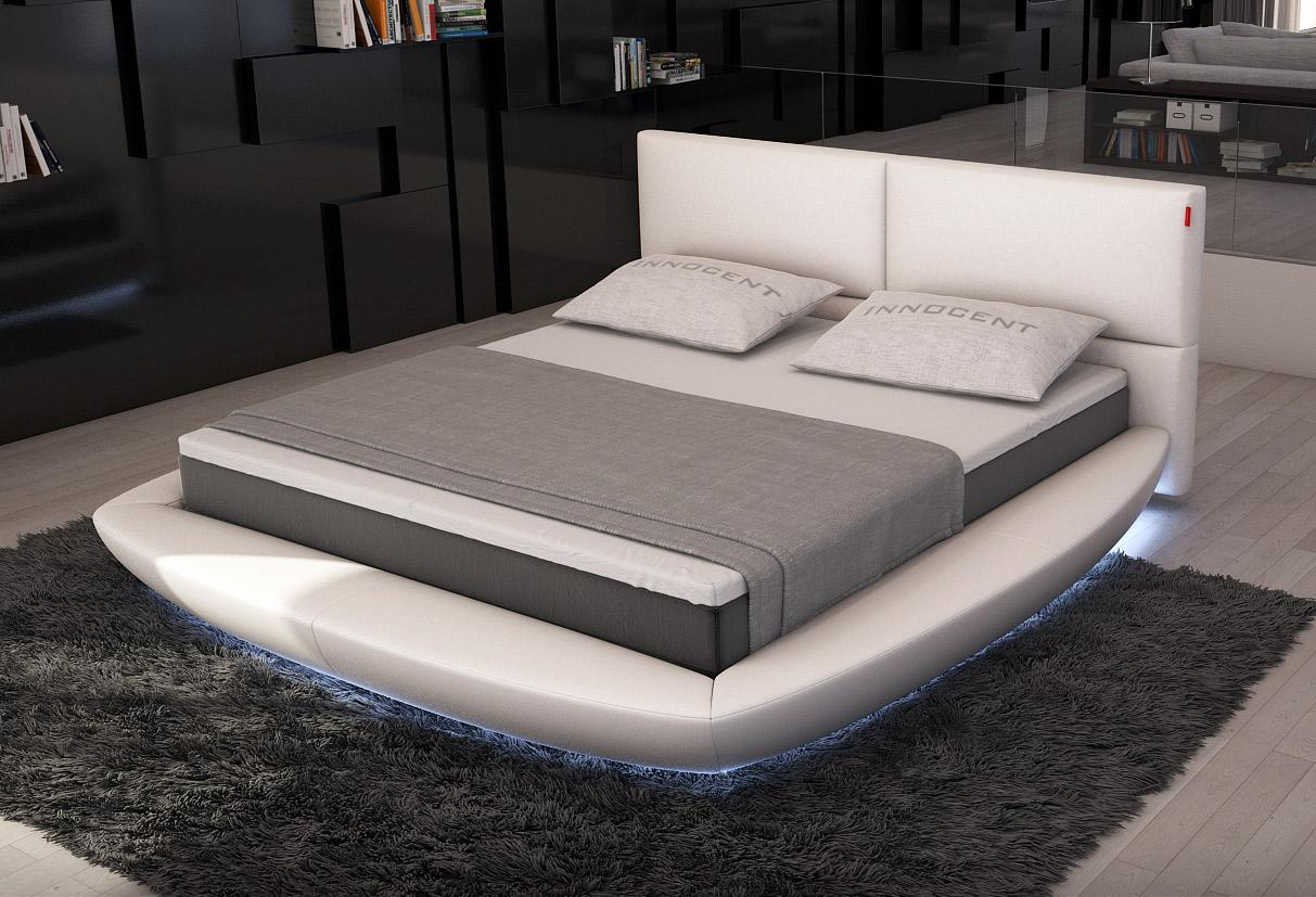 Sferico White Round Bed With Led Lights Las Vegas Furniture