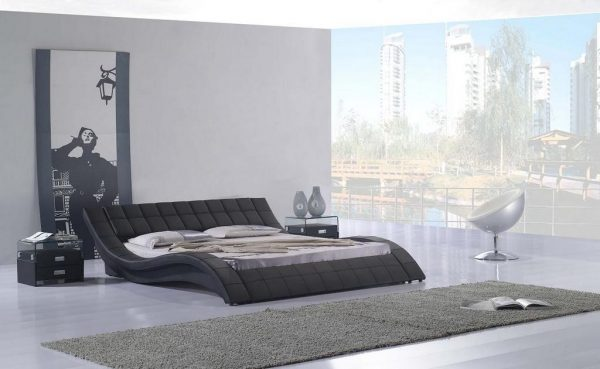 Wave Black Leather Bed Las Vegas Furniture Store