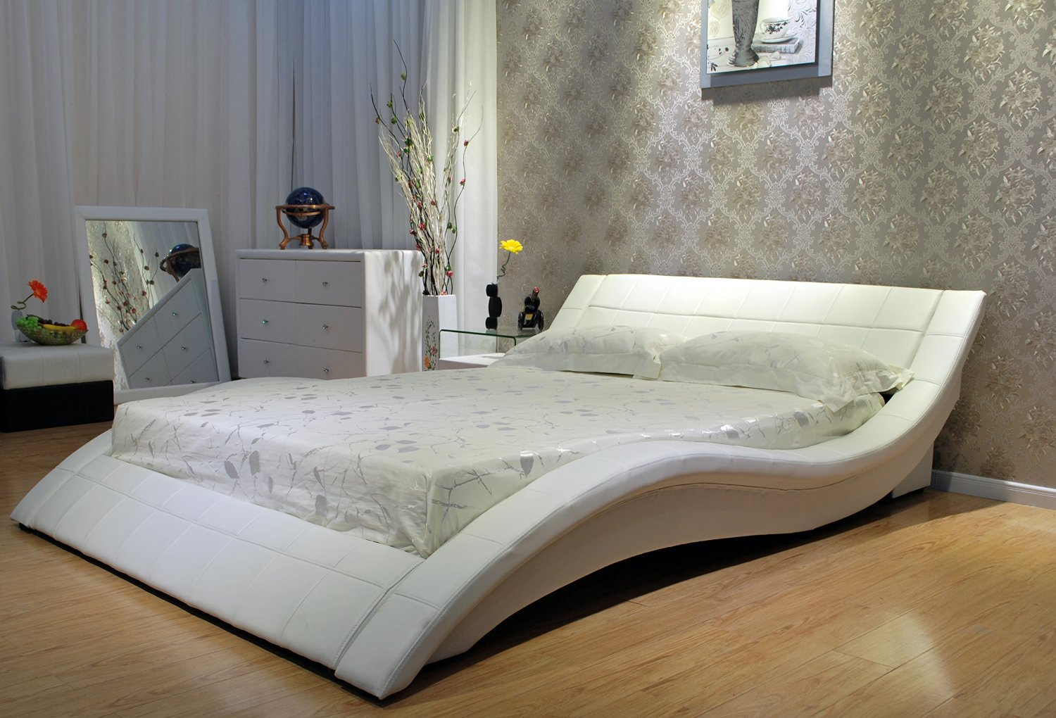 Wave White Leather Bed Las Vegas Furniture Store