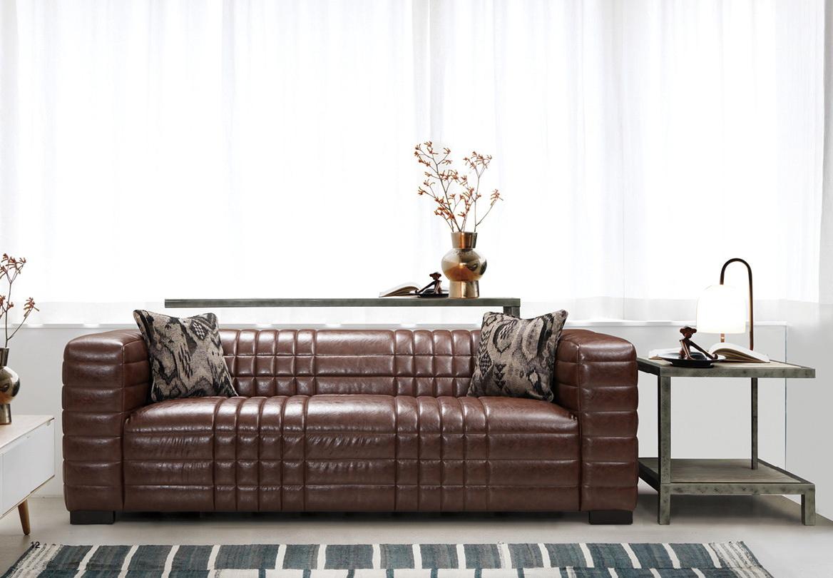 Maxton Brown Bonded Leather Living Room Las Vegas