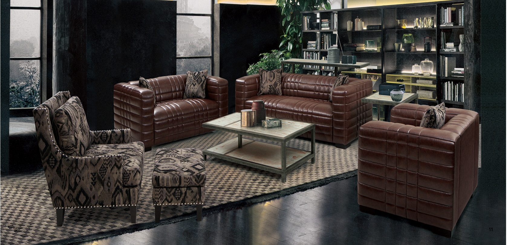 Maxton Brown Bonded Leather Living Room Las Vegas Furniture Store Modern Home Furniture