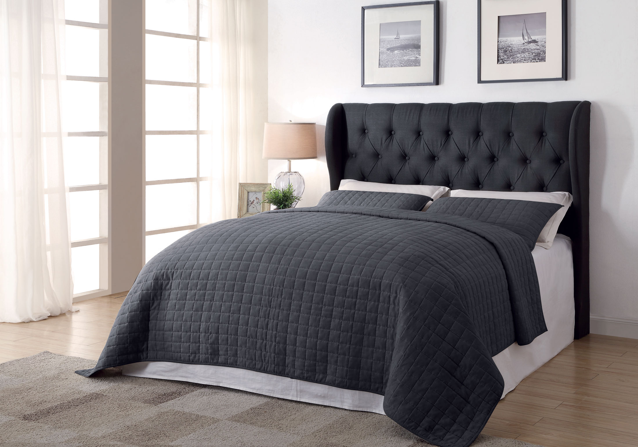 Murrieta Charcoal Fabric Tufted Headboard Only Las Vegas