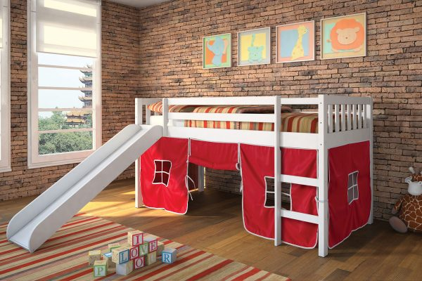 Tiona White Loft Twin Bed with red tent
