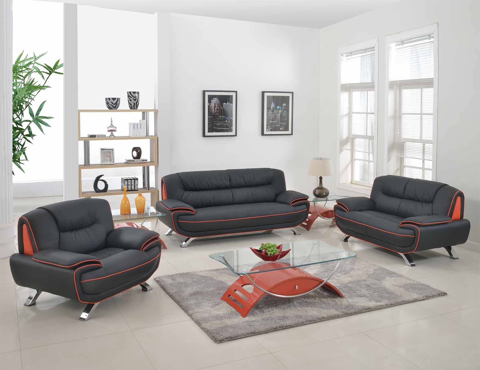 Amalfi Black With Red Orange Leather Living Room Las Vegas Furniture Store