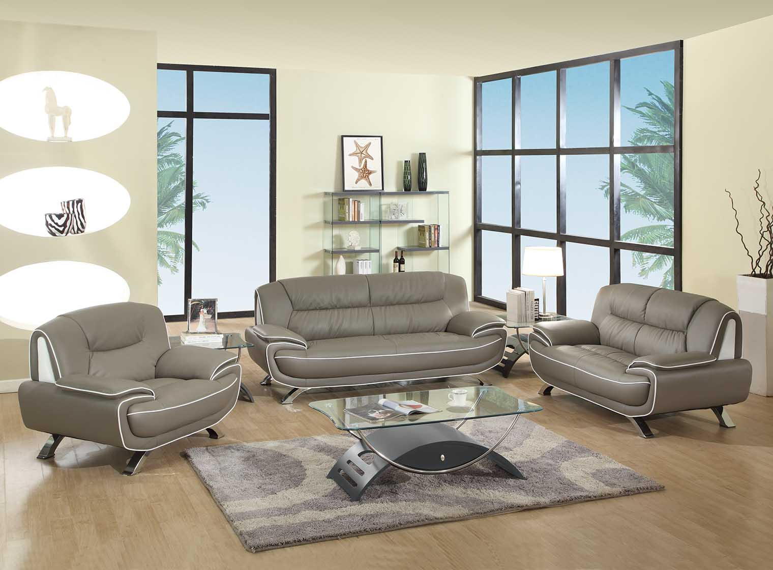 Amalfi grey and white leather living room las vegas for Gray leather living room furniture