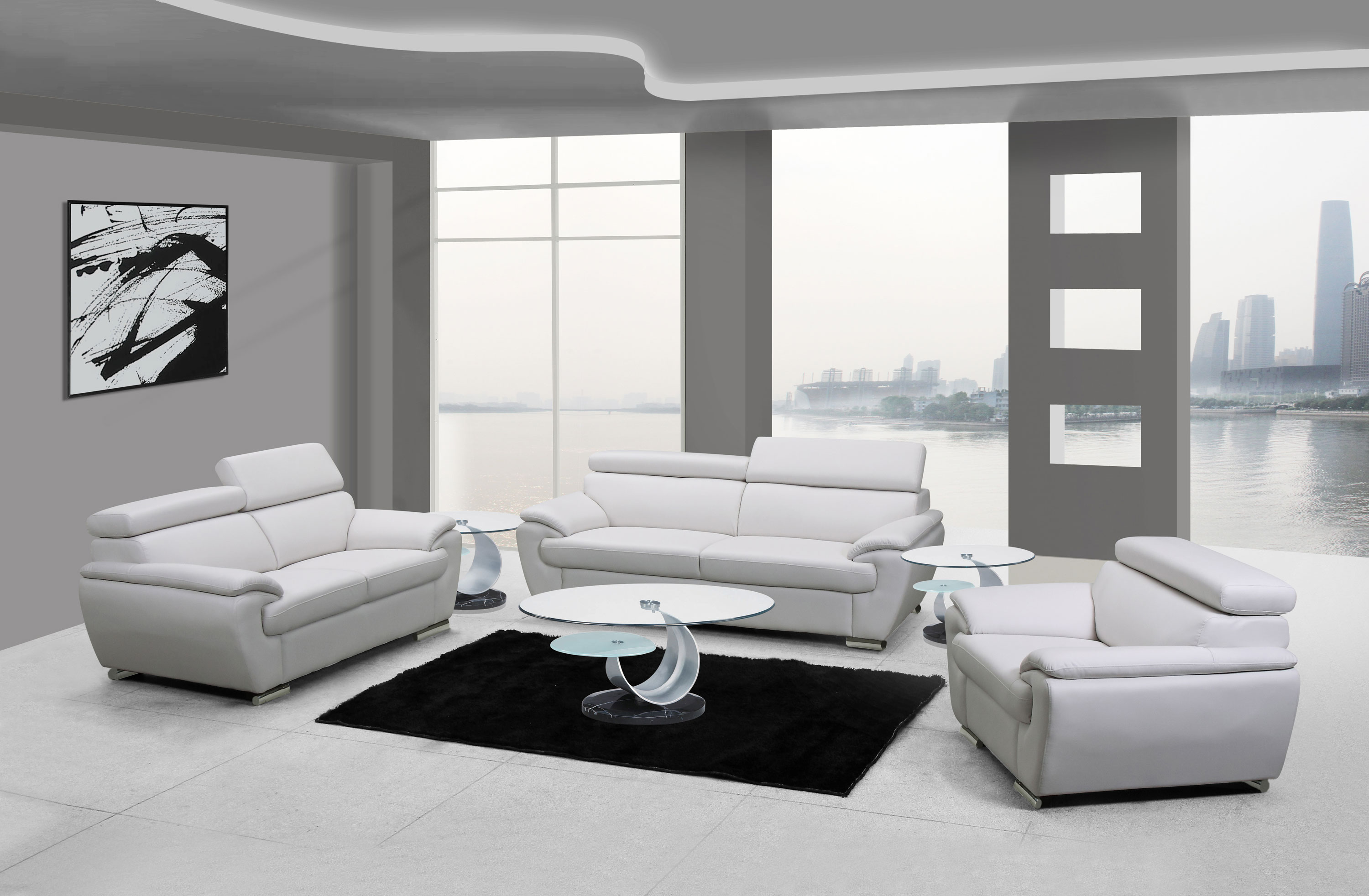 Naples White Leather Living Room Las Vegas Furniture