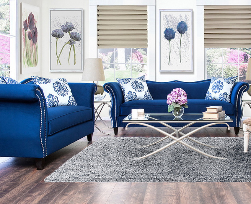 Zaffiro Royal Blue Fabric Living Room Las Vegas Furniture Store Modern Ho