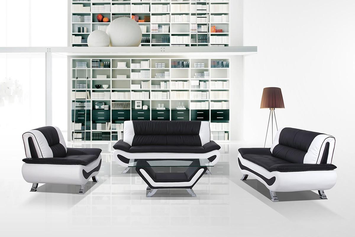 Chaplin Black White Leatherette Living Room