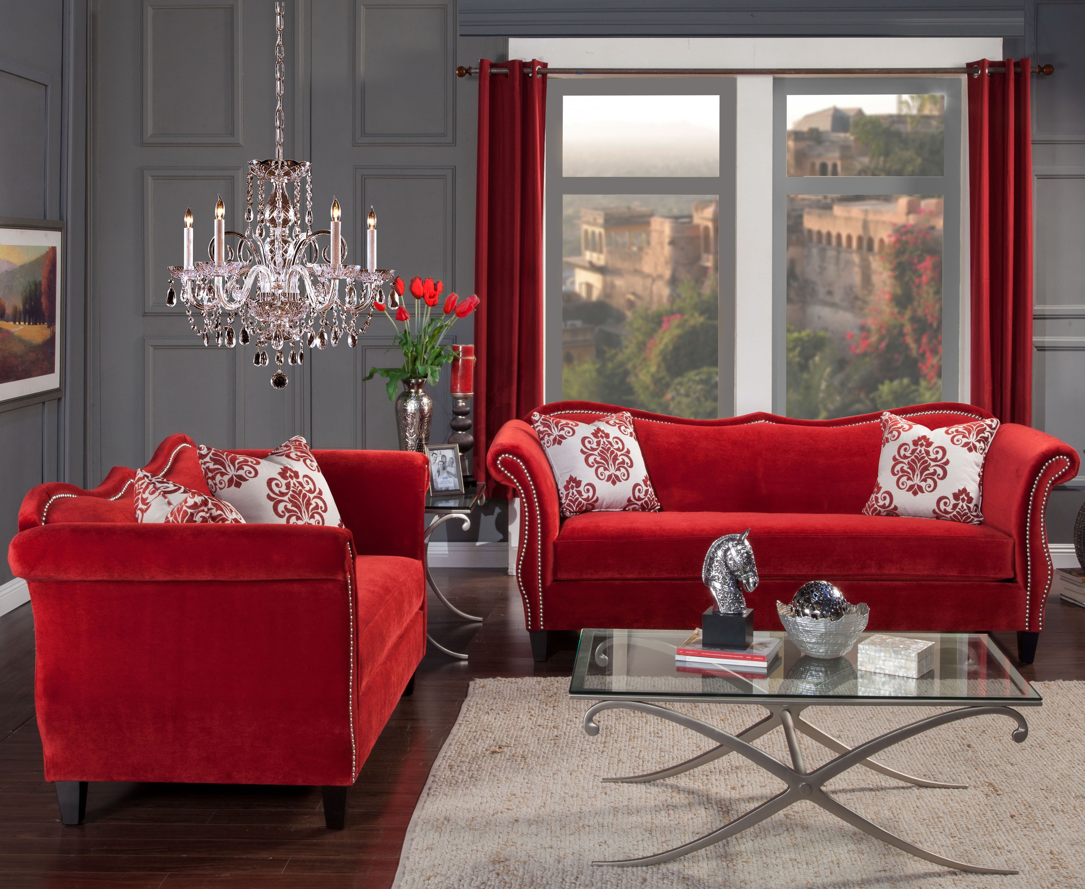 zaffiro rubi red fabric living room  las vegas furniture