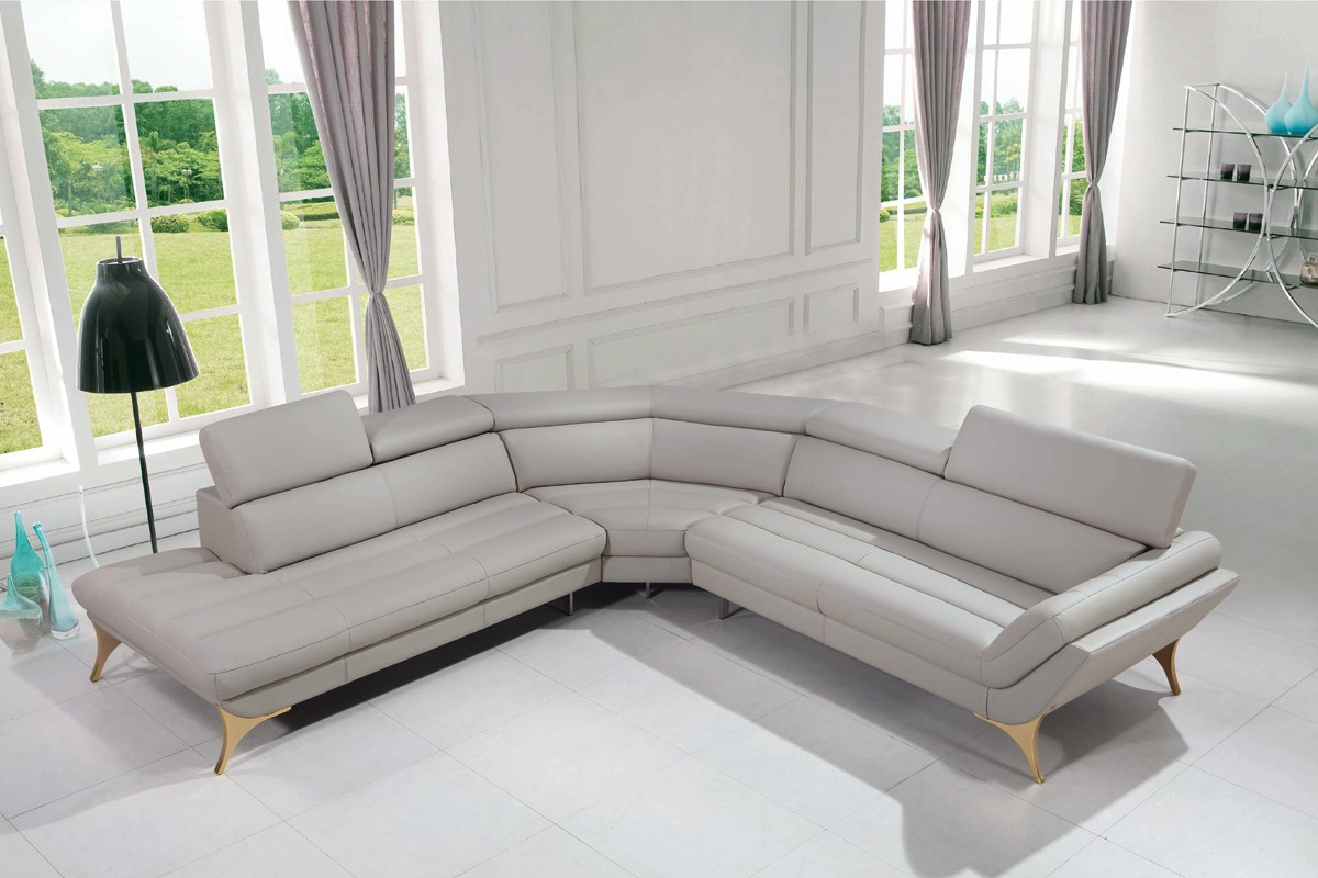 1541 Modern Grey Leather Sectional Sofa