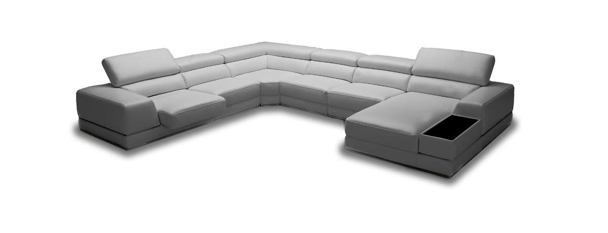 Chrysanthemum Modern Grey Eco Leather Sectional Sofa Las Vegas Furniture Home Cornerstone