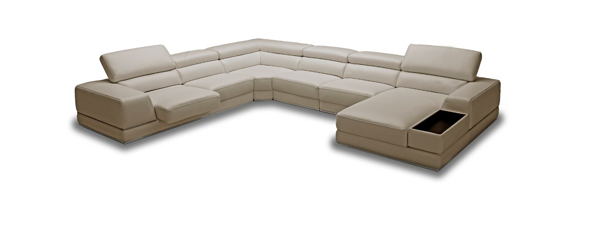 Chrysanthemum Modern Beige Leather Sectional Sofa
