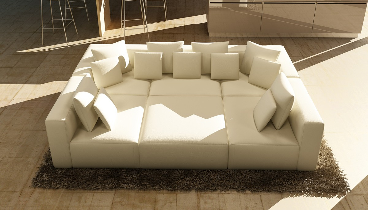 206 modern white bonded leather sectional sofa las vegas for Modern white furniture