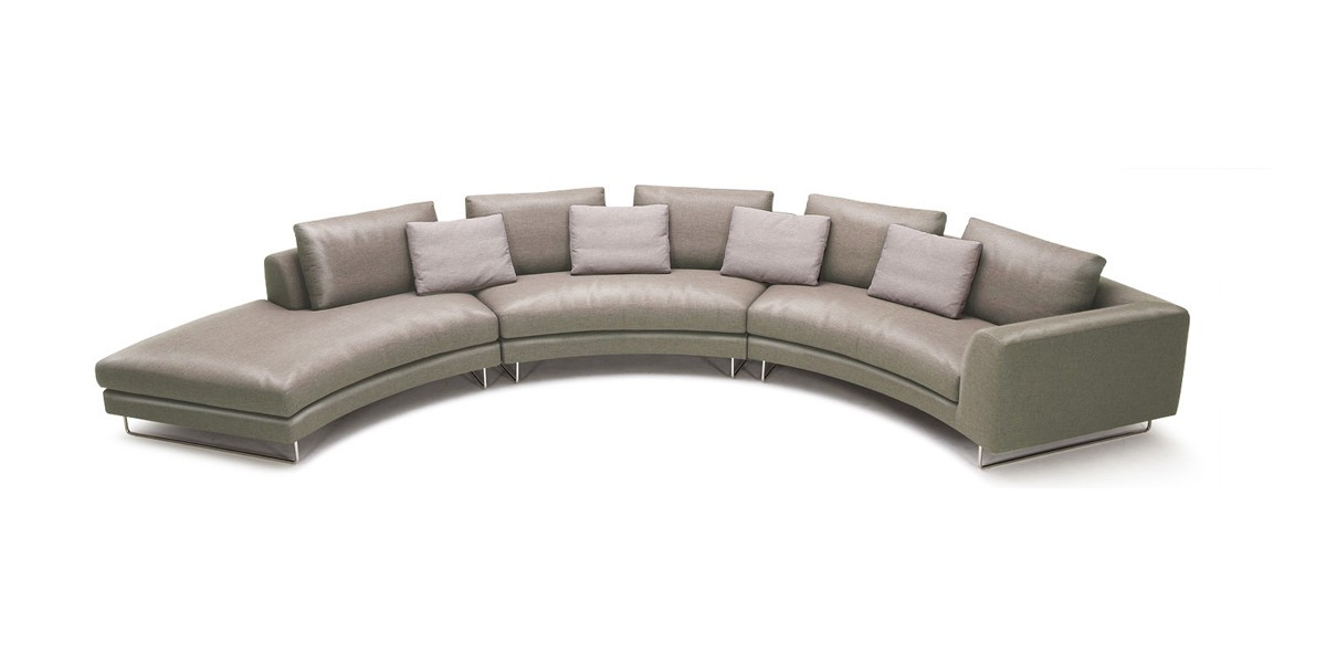 Tulip Modern Taupe Leather Sectional Sofa Las Vegas Furniture