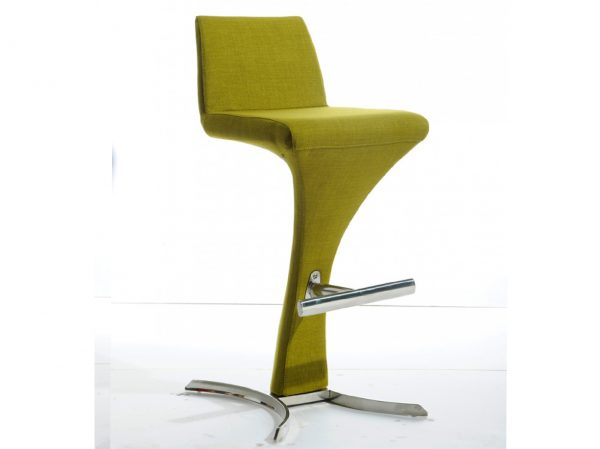 Ascella Modern Green Fabric Bar Stool