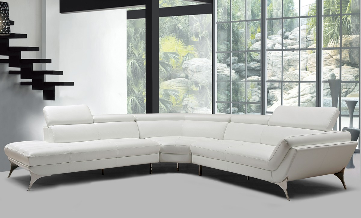 Grahite White leather sectional 1541