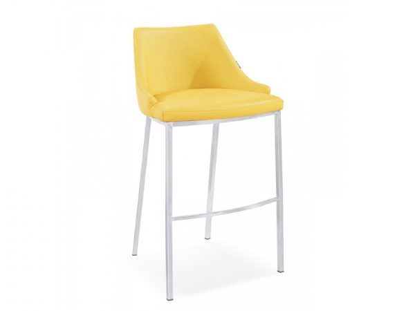 Jayce Yellow Leatherette Bar Stool