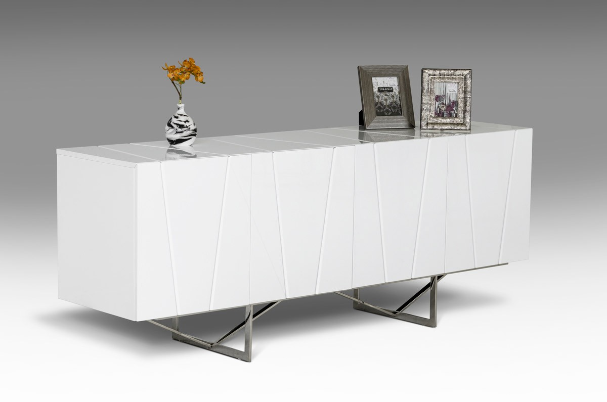Chrysler White High Gloss Buffet Las Vegas Furniture Modern Home Cornerstone