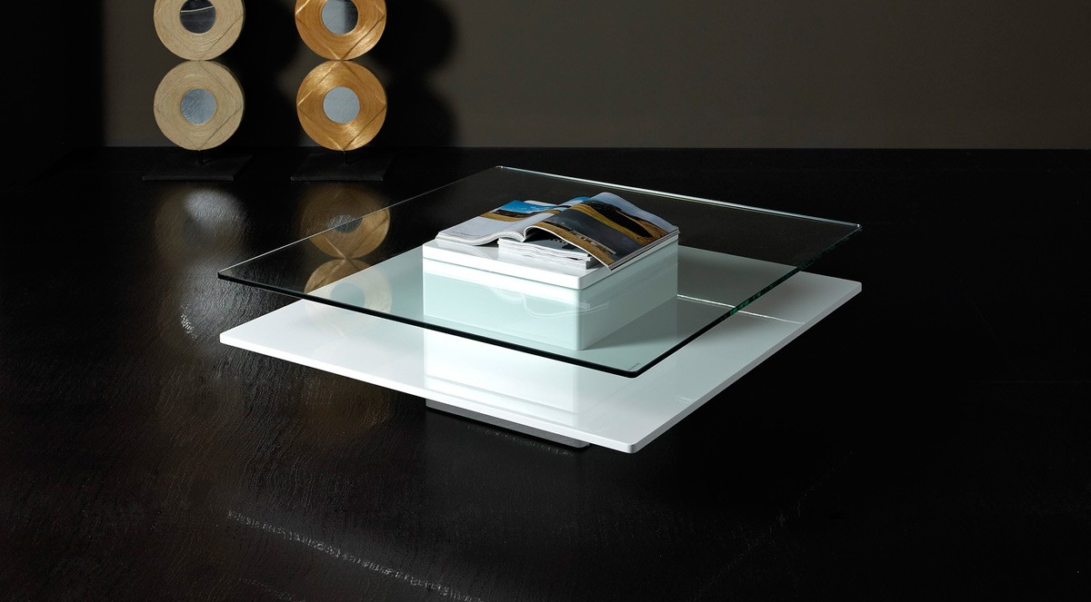 Emulsion Modern White Glass Coffee Table Las Vegas Furniture
