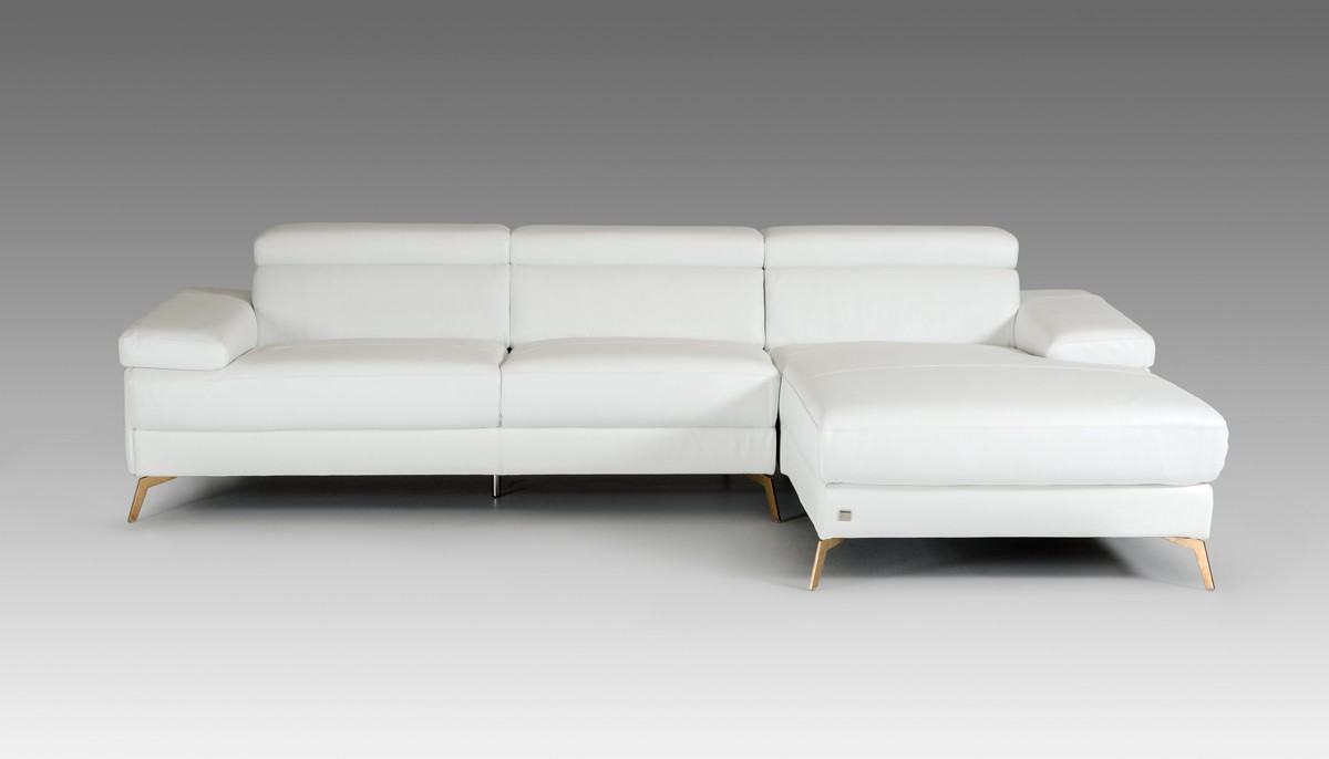 Kayla Modern White Italian Leather Sectional Sofa