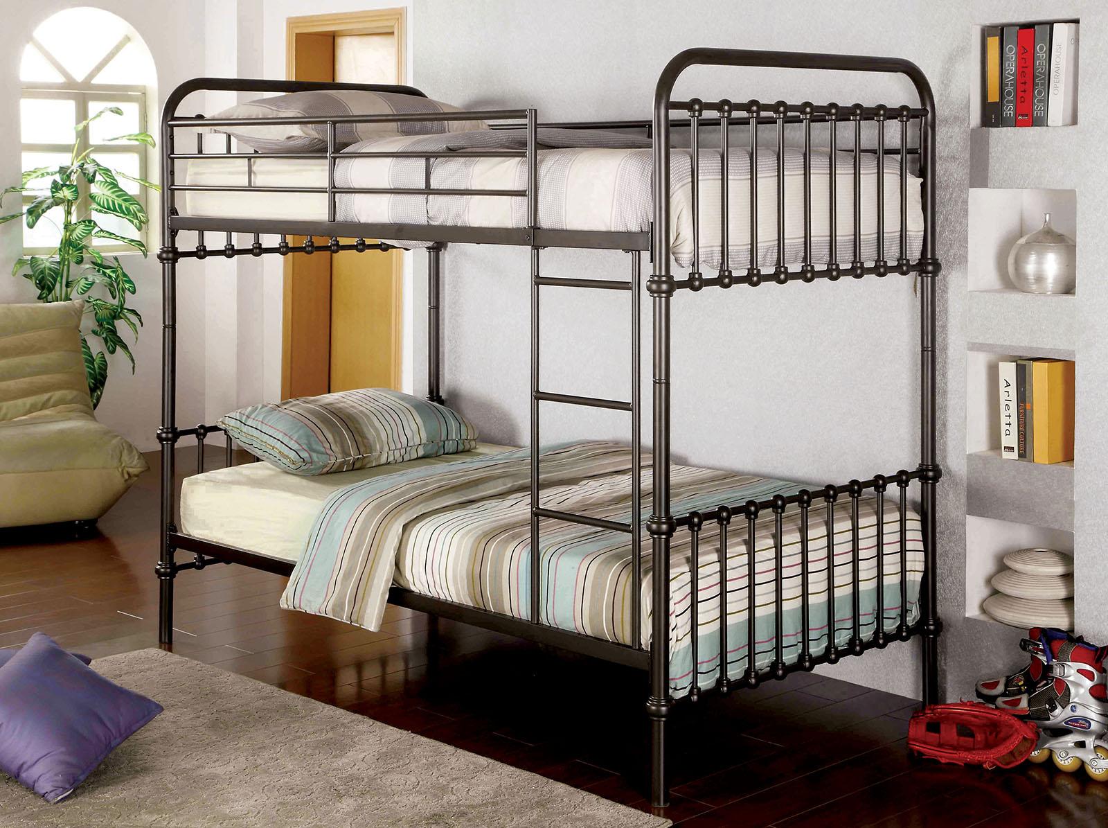 Picture of: Oria Dark Bronze Metal Bunk Bed Las Vegas Furniture Store Modern Home Furniture Cornerstone Furniture