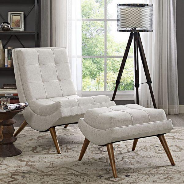 Ramp Fabric Lounge Chair with Ottoman