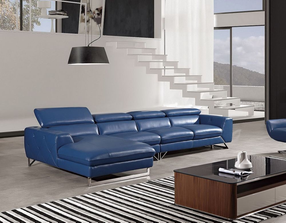 Roger Blue Leather Sectional