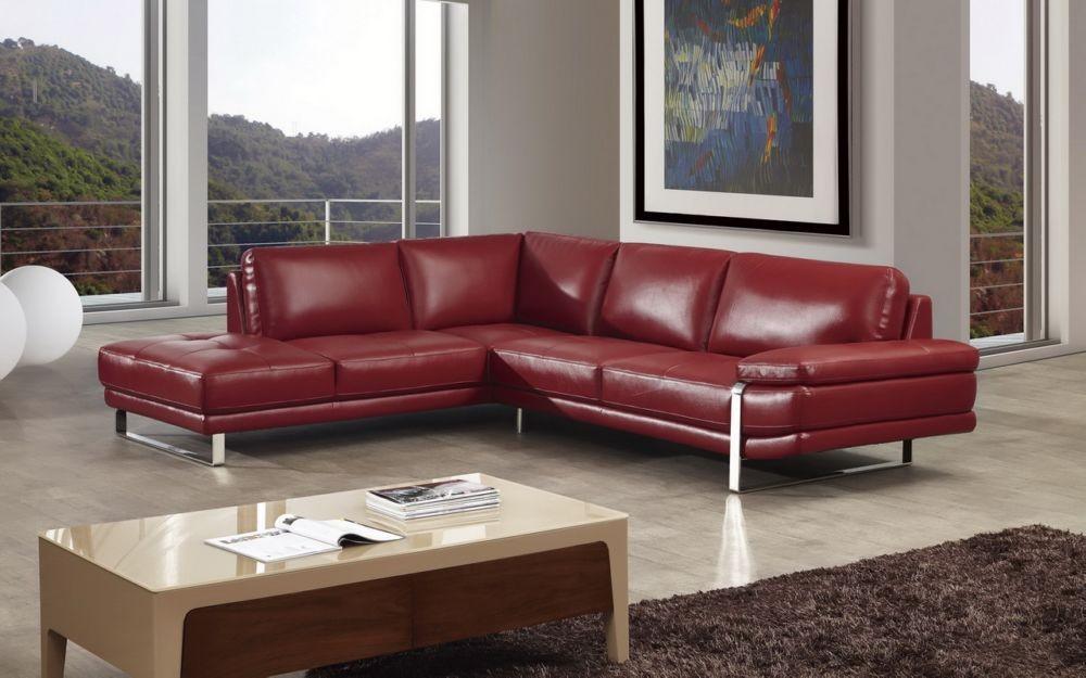 Boston Red Leather Sectional Las Vegas Furniture Store Modern Home Furniture Cornerstone
