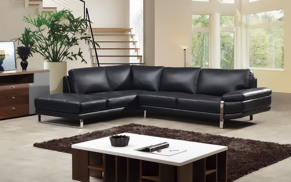 Boston Black Leather Sectional Las Vegas Furniture Store