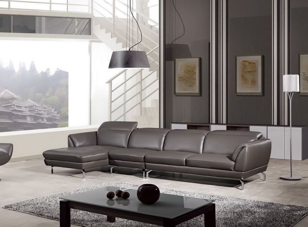 Dark grey leather modern sectional sofa wadjustable Living room furniture b q